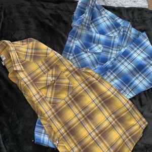 2 Long Sleeve Western Style Shirts 4X